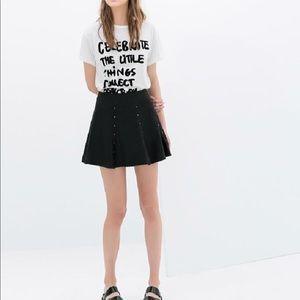 Zara Faux Leather Flounce Studded Skirt